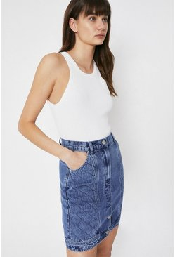 Mid wash Denim Button Detail Quilted Skirt