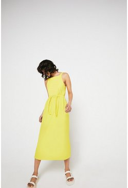 Yellow Pique Square Neck Midi Dress
