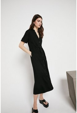 Black Pique Pocket Drawstring Midi Dress