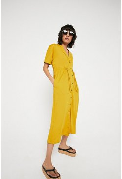 Yellow Pique Pocket Drawstring Midi Dress