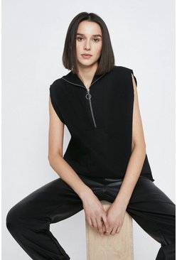 Black Zip Through Sleeveless Sweat