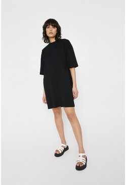 Black Oversized Casual T-shirt Dress
