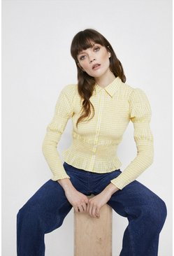 Yellow Smocked Gingham Shirt
