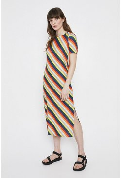 Multi Stripe Rib Column Dress