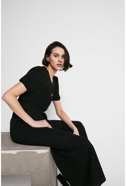 Black Pique Puff Sleeve Belted Jumpsuit