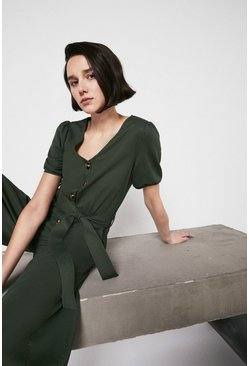Khaki Pique Puff Sleeve Belted Jumpsuit