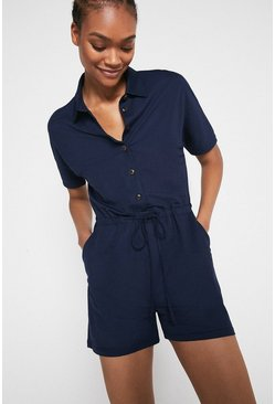 Navy Pique Drawstring Playsuit
