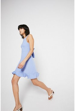 Light blue Pique Square Neck Peplum Hem Dress