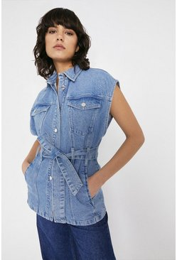 Light wash Sleeveless Belted Denim Jacket