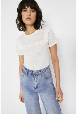 Ivory Pointelle Ruffle Short Sleeve Top