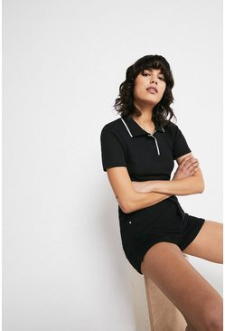 Black Pointelle Short Sleeve Polo Top