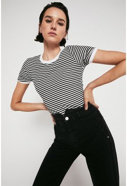 Blackwhite Stripe Rib Crew Neck Top