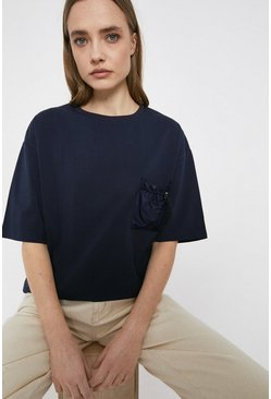 Navy Drawstring Woven Pocket T-shirt