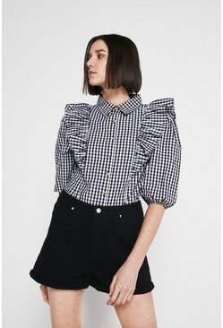 Mono Check Frill Front Puff Sleeve Shirt