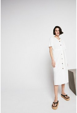 Ivory Pique Button Through Belted Dress