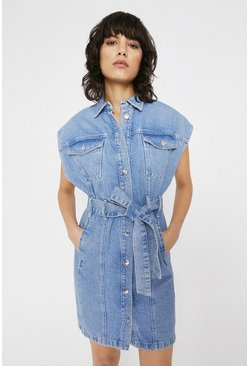 Light wash Sleeveless Belted Denim Mini Dress