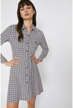 Multi Mini Shirt Dress In Geo Print