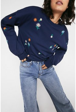 Navy Floral Embroidered Sweat