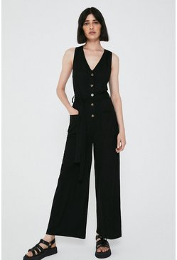 Black Pique Utility Pocket Jumpsuit
