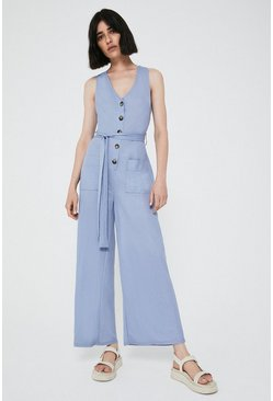 Blue Pique Utility Pocket Jumpsuit
