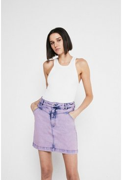 Purple Washed Denim Mini Skirt
