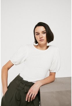 Ivory Pointelle Puff Sleeve Top