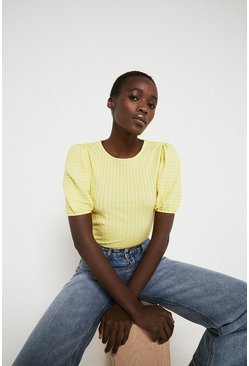 Lemon Pointelle Puff Sleeve Top