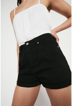Black Denim Mom Shorts