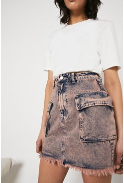 Pink Washed Denim Pocket Mini Skirt