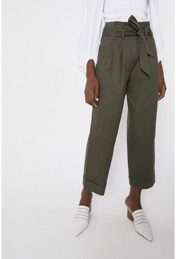 Khaki Twill Paperbag Belted Trousers