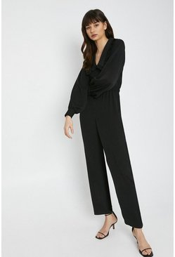 Black Jumpsuit With Frill Collar