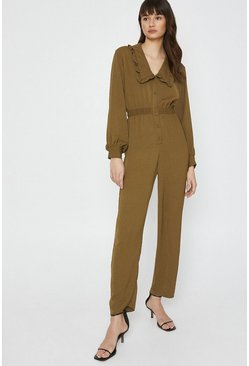 Khaki Jumpsuit With Frill Collar