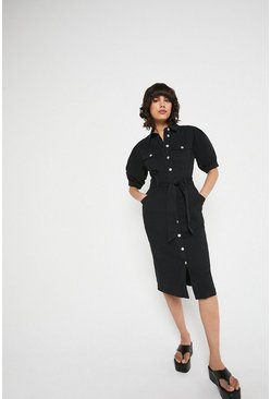 Black Twill Belted Midi Dress