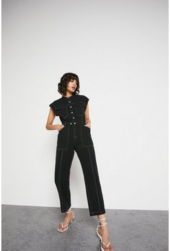 Black Lip Shoulder Popper Detail Jumpsuit