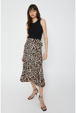 Animal Wrap Skirt With Frill
