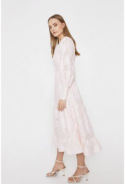 Blush Midi Dress In Floral Jacquard