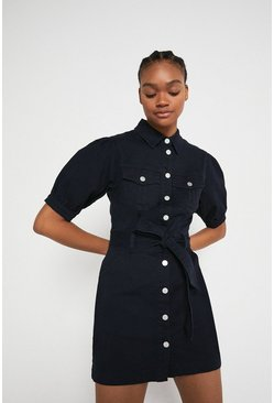 Dark navy Twill Belted Dress