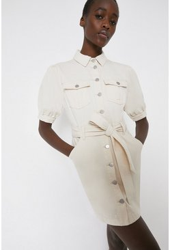 Ivory Twill Belted Dress
