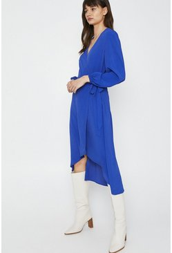 Blue Wrap Dress With Dip Hem