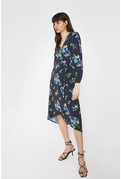 Black Wrap Dress With Dip Hem In Floral