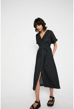 Mid wash Chambray Button Through Belted Midi Dress