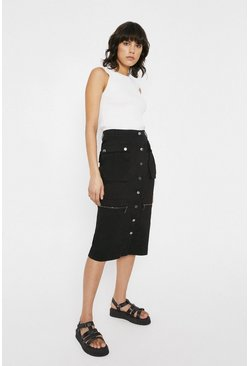Black Utility Twill Pocket Detail Midi Skirt