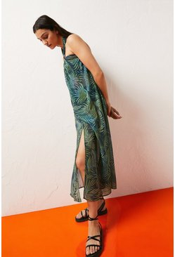 Leaf green Ring Detail Halterneck Midi Dress