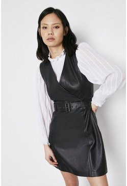Black Belted Real Leather Wrap Shift Dress