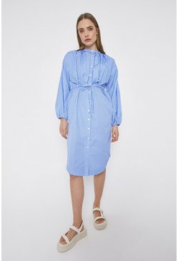 Blue Stripe Shirt Dress With Double Layer