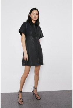 Black Short Sleeve Real Leather A Line Shirt Dress