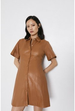 Tan Short Sleeve Real Leather A Line Shirt Dress