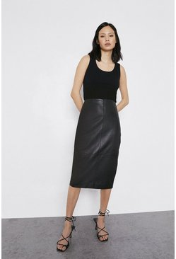 Black Real Leather Pencil Skirt