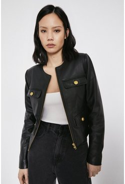 Black Real Leather Collarless Gold Button Jacket