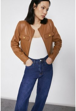 Tan Real Leather Collarless Gold Button Jacket